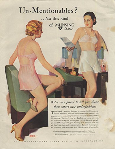 Un-Mentionables? Not this kind Munsingwear Bra Panties Sketchies ad 1933