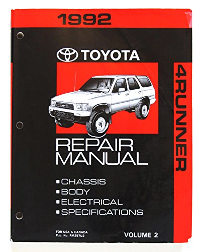1992 Toyota 4Runner Repair Manual Volume 2 - Chassis, Body, Electrical, Specifications