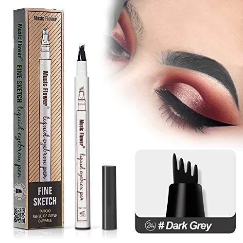Vanelc Microblading Eyebrow Tattoo Pen with a MicroFork TipLong LastingSmudgeproof Liquid Eyebrow Pencil for Natural HairLike Defined Brows 2019 New Version Dark Grey