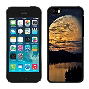 New Beautiful Custom Designed Cover Case For iPhone 5C With Night Sky Moon Trees River Reflection Phone Case