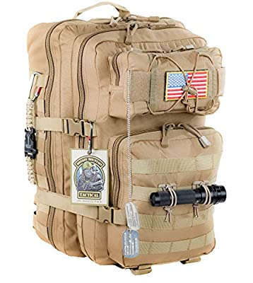 Monkey Mountain Tactical 40L MOLLE Large 3-Day Military Survival Bug Out Bag Rucksack Assault Pack
