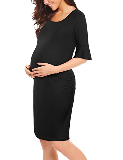 787be02986816 PRETTYLIFE Maternity Dress Ruched Knee Length Pregnancy Party Baby Shower  Bodycon Dress (Modal - Black