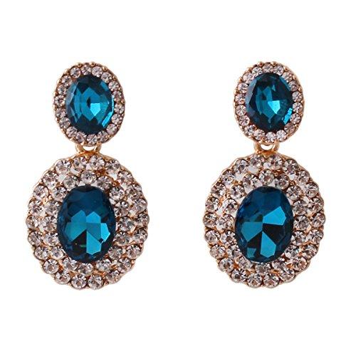 Grace Jun 2017 New Big Rhinestone Crystal Clip on Earrings Without Piercing and Dangle Drop Earrings (Blue ear clip) (Large Clip On Earrings)