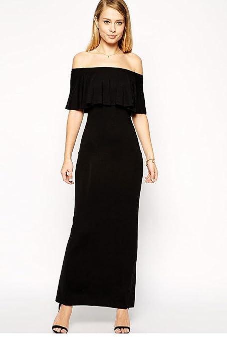 New Casual Slash Vintage Cute Lady Girl Summer Dress 2015 Vestidos De Festa Longo Fashion Black