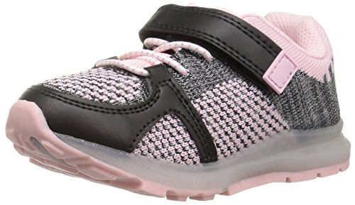 Image of Carter's Girls' Tris Ligh-Up Athletic Sneaker, Black/Pink, 12 M US Little Kid
