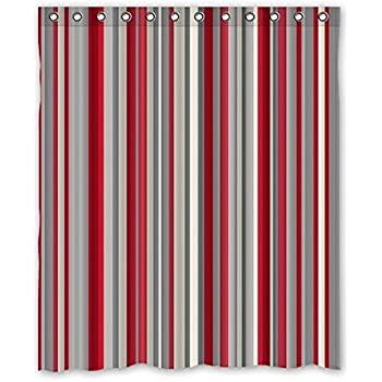 Unique And Generic Shower Red Gray Vertical Stripes Curtain Custom Printed Waterproof Fabric Polyester Bath