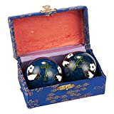 Chinese Baoding Balls – 2-Piece Set of Metal Stress Balls for Hand Health, Chinese Fidget Toys with Assorted Color Storage Box for Stress-Relief, Exercise, Massage, Meditation, Panda Design, Blue