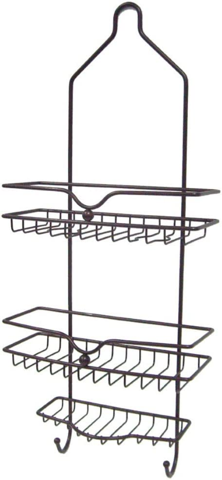 Home Basics Classic 2 Shelf Shower Caddy with Bottom Hooks and Center Soap Dish Tray, Bronze