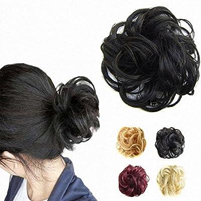 FESHFEN Scrunchy Scrunchie Hair Bun Updo Hairpiece Hair Ribbon Ponytail Extensions Hair Extensions Wavy Curly Messy Hair Bun Extensions Donut Hair Chignons Hair Piece Wig-1# Black