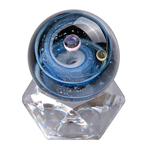 Top Plaza Universe Galaxy Crystal Glass Ball Divination Sphere Sculpture Figurine with Acrylic Stand, Unique Special Galaxy Cosmos Space Home Decoration -