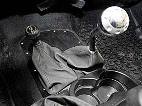 Black Leather-Black Thread Compatible with Jeep Wrangler YJ 1987-95 RedlineGoods Shift Boot Dual
