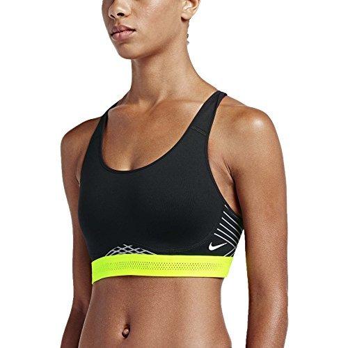 Nike Women's Pro Fierce Reflective Sports Bra Black Volt White 805200 010 (s)