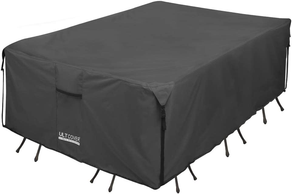 ULTCOVER 600D PVC Durable Rectangular Patio Table with Chair Cover - Waterproof Outdoor Furniture Table Covers 88Lx62Wx28H inch, Black