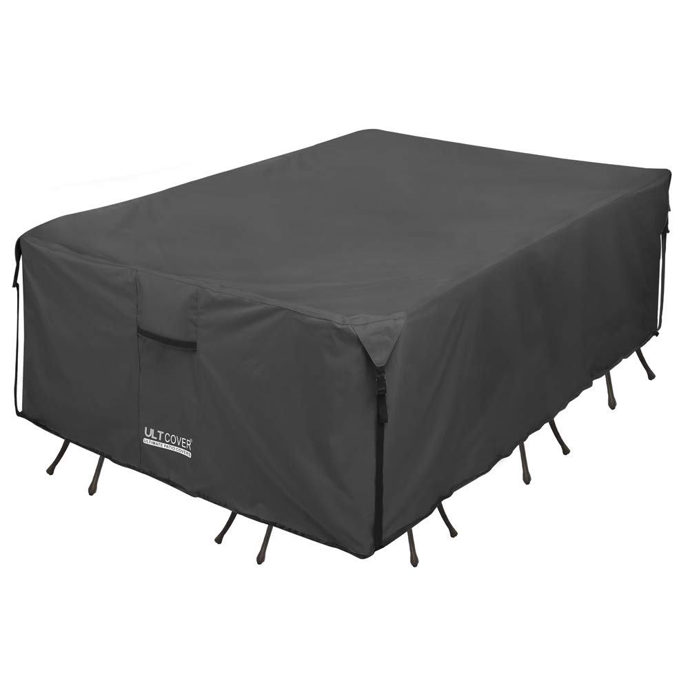 ULTCOVER 600D PVC Durable Rectangular Patio Table with Chair Cover - Waterproof Outdoor Furniture Table Covers 111 x 74 inch, Black by ULTCOVER