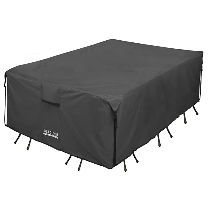 ULTCOVER 600D PVC Durable Rectangular Patio Table with Chair Cover - Waterproof Outdoor Furniture Table Covers 136 x 74 inch, Black