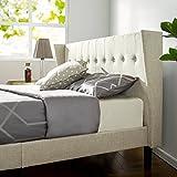 wooden king size bed frame - Zinus Upholstered Button Tufted Wingback Platform Bed / Wood Slat Support, King