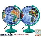 Globo Terrestre Físico e Político - 30 cm de diâmetro com lâmpada LED/Abajur + Brinde Mapa Mundi