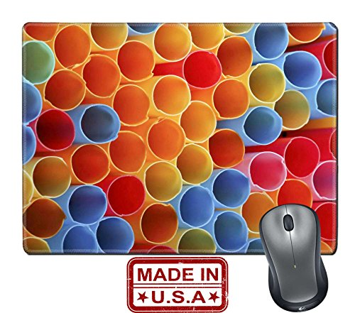 """Price comparison product image Liili Natural Rubber Mouse Pad/Mat with Stitched Edges 9.8"""" x 7.9"""" macro of colorful drinking straws for backgrounds Image ID 22985965"""