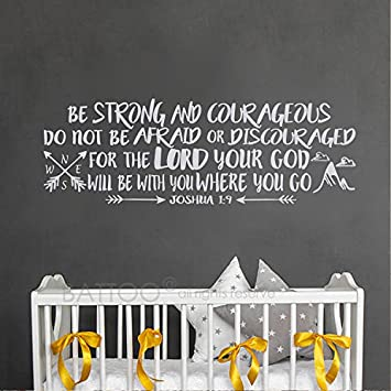 Amazoncom Battoo Be Strong Wall Decal Quote Joshua 19 Be