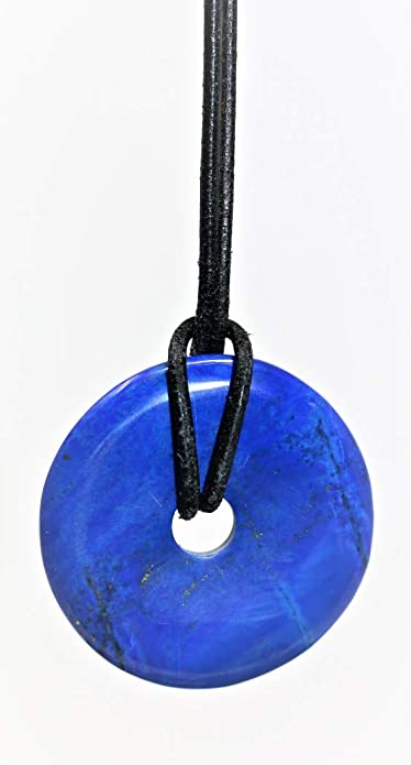 Colgante de piedra de lapislázuli con correa negra, colgante ...