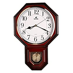 Traditional Schoolhouse Easy to Read Pendulum Plastic Wall Clock Chimes Every Hour With Westminster Melody Made in Taiwan, 4AA Batteries Included (PP0258-1W Red Mahogany)