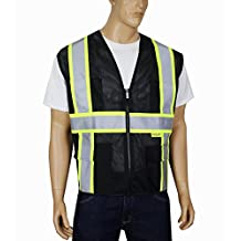 Safety Depot Professional Style Mesh Safety Vest Reflective Two Tone Zipper with Pockets Hi Viz ANSI/ISEA 107-2010 MP40 (Black, Large)