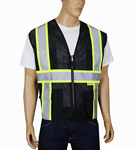 (Safety Depot Breathable Safety Vest Multiple Colors Available, 4 Lower Pockets, 2 Chest Pockets with Pen Divider & High Visibility Reflective Tape MP40 (Mesh Black, Large))