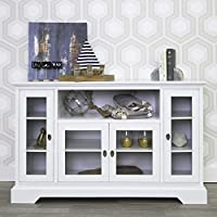 New 52 Inch Wide White Wood Highboy Television Stand