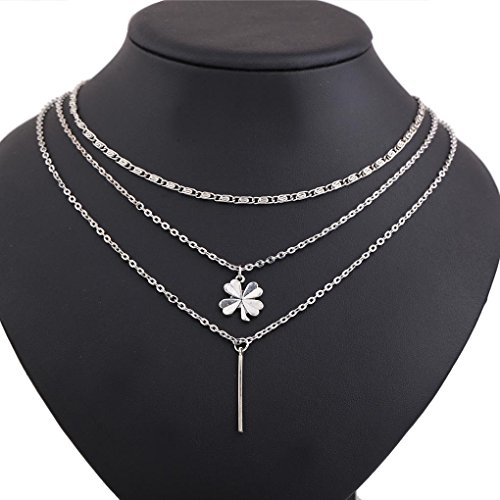 (CanB Boho Silver Four Clover Leaf Bar Pendant Necklaces Chain Jewelry for Women Girls)