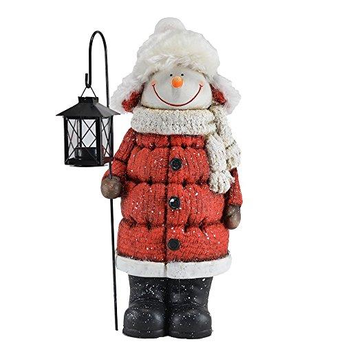 Mark Feldstein Cozy Snowman Door Greeter w/LED Tea Light Lantern