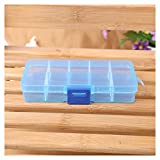 FTXJ Rectangle 10 Grids Jewelry/Beads/Pills/Nail Art Tips Storage Box Case (Blue)