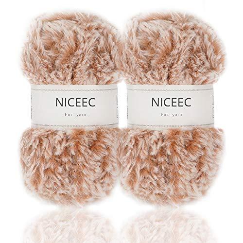 NICEEC 2 Skeins Super Soft Fur Yarn Chunky Fluffy Faux Fur Yarn Eyelash Yarn for Crochet Knit-Total Length 2×32m(2×35yds,50g×2)-Khaki - Eyelash Yarn Patterns
