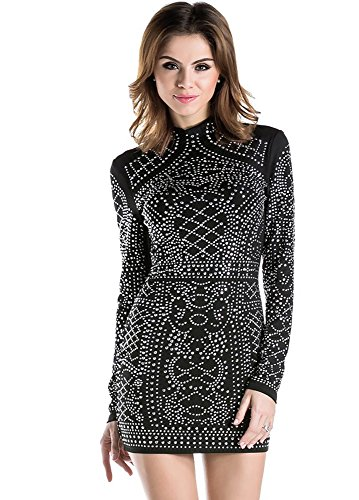 Missord Women's Long Sleeve High Neck Bodycon Tight Casual Mini Dress Black - Women Balmain For
