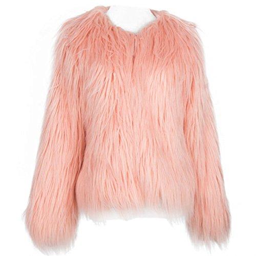 Women's Long Sleeve Vintage Winter Warm Fluffy Faux Fur Coat Jacket Outwear (L(TAGXXL), Pink)