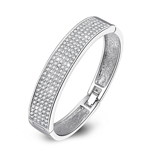 QIANSE 'Queen Snow' Diamond Accent Crystal Pave Bangle Bracelet, christmas gifts birthday gifts wedding jewelry women bracelets birthday gifts for mom daughter sister friend anniversary gifts for her