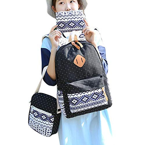 Blue Daypack Casual Shoulder Outsta 3 Bag Women Shoulder Black Girl Sets Canvas Handbag Backpack School Bag Tote Crossbody Clutch Purse Travel qw6TaqfHg