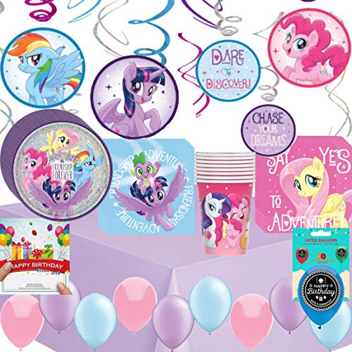 My Little Pony Friendship Adventures Birthday Party Supplies Bundle of Cups Plates Napkins Balloons Table Cover Happy Birthday Card Bundle ()