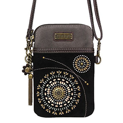 Handbag Suede Purse Leather (Chala Crossbody Cell Phone Purse - Women Faux Suede Multicolor Handbag with Adjustable Strap - Starburst - Black)