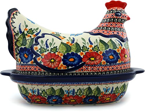 Polish Pottery Hen Shaped Jar 13-inch (Spring Splendor UNIKAT) by Polmedia Polish Pottery