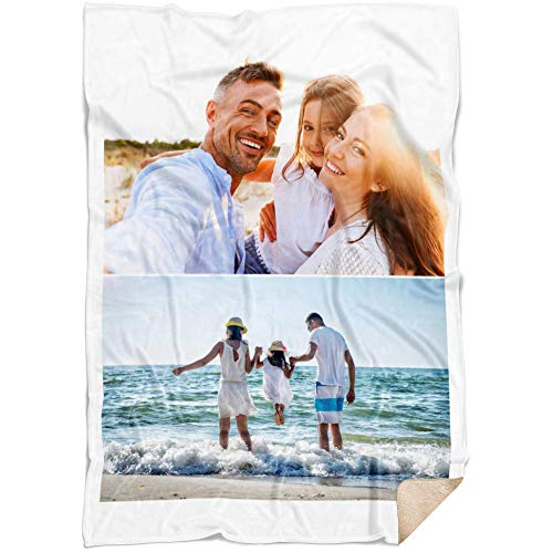 Personalized Throw Blanket 2 Images Collage Full Color. Custom from Your Photos. Fleece Blanket Super Soft for Baby & Adult. Great Wedding Gifts (Fleece Sherpa, 50'' x 60'')