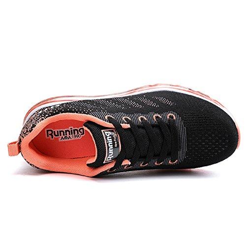 Tqgold Menns Kvinners Luftputeatletisk Joggesko Lette Sport Gym Jogging Walking Sko Svart Orange
