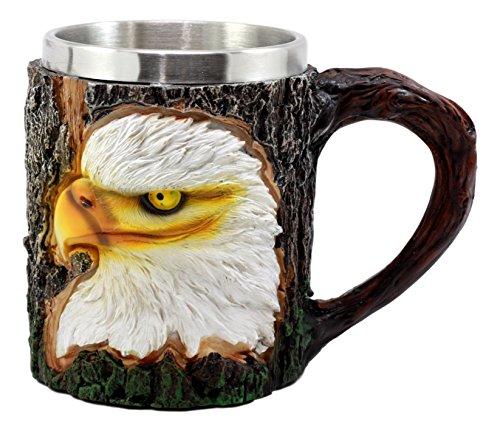 Bald Eagle Steel Mug - Ebros Nature Wildlife Bald Eagle Coffee Mug With Rustic Tree Bark Design 12oz Drink Beer Stein Tankard Cup
