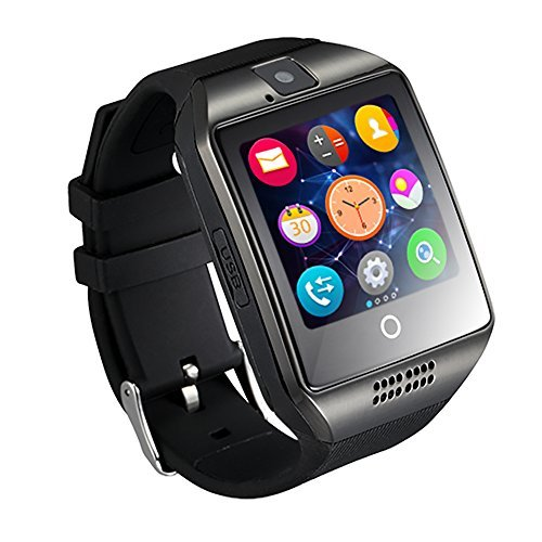 Smart Watch with Camera, TechFaith Q18 Bluetooth Smartwatch with Sim Card Slot Fitness Activity Tracker Sport Watch for Android Smartphones (Black)
