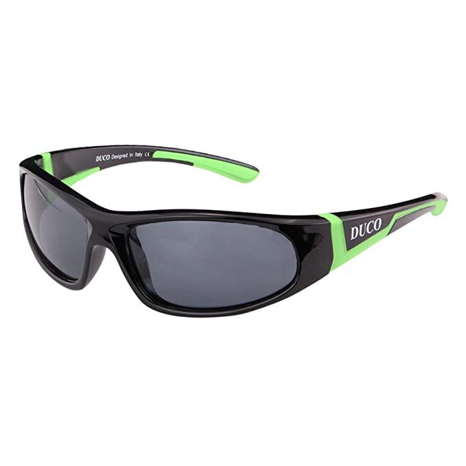 85f0a36e363 Duco Kids Sports Style Polarized Sunglasses Rubber Flexible Frame For Boys  And Girls K001 Black  Amazon.co.uk  Clothing