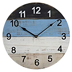 15.5-Inch Rustic Wood Large Decorative Wall Clock Silent Non-Ticking Battery Operated with White & Black Arabic Numerals for Home Decor
