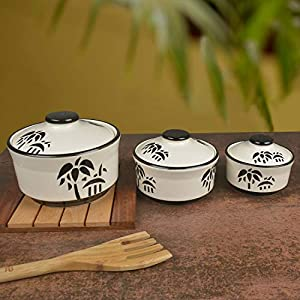 StyleMyWay Studio Pottery Handpainted Ceramic Serving Donga (Set of 3, White and Black Motif) | Dinner Serving Bowl Set…