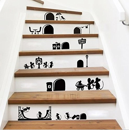 Cartoon Mouse - ufengke Cartoon Cute Mouse Holes stair decors, Children's Room Nursery Removable Wall Stickers Murals Black