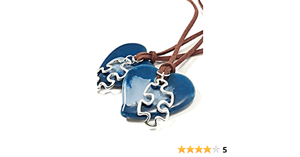 Autism Necklace Blue Ceramic Heart Puzzle Piece Charm Womens Jewelry Gifts For Mom Grandma Teacher.