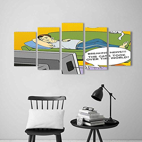 Flat Panel Tv Mirror - 5 Panel Wall Art Set Frameless Lying on Couch Watching TV Cats Take Over World Comic Book Pop Art for The Kitchen, Dining Room, Living Room, Bar and so on