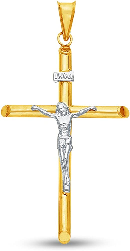 50x25 mm Sonia Jewels 14K Two 2 Tone White and Yellow Gold Religious Catholic Crucifix Cross Charm Pendant